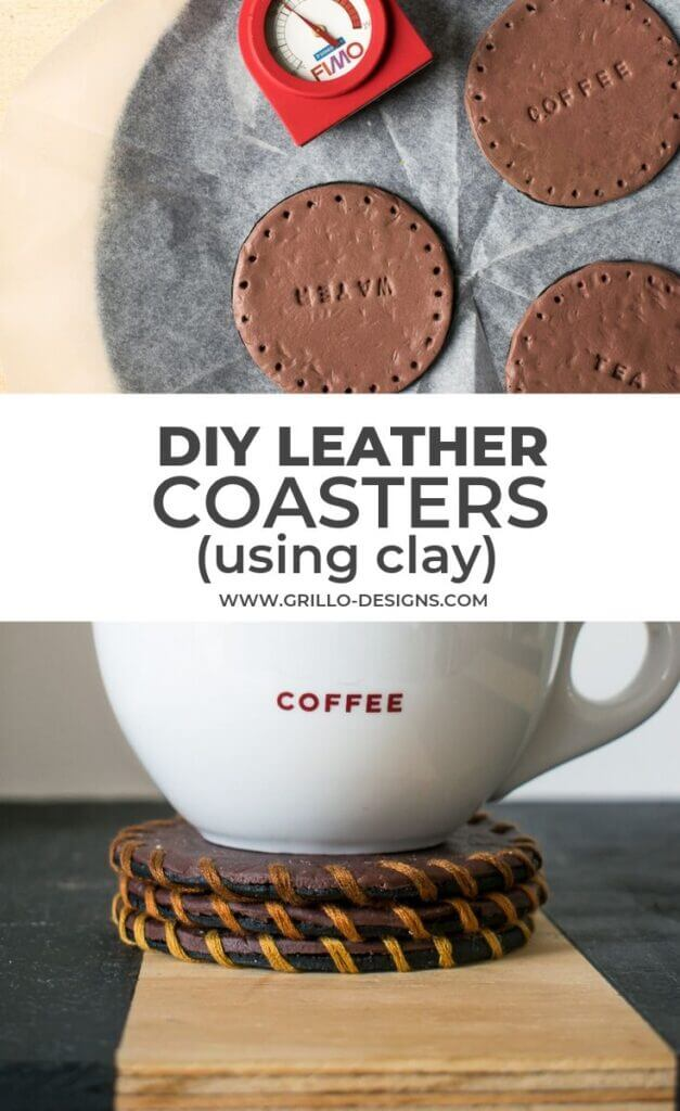 Pinterest image of diy leather coasters using clay