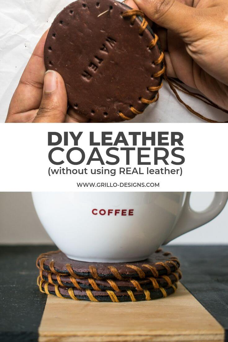 Pinterest image for diy leather coasters