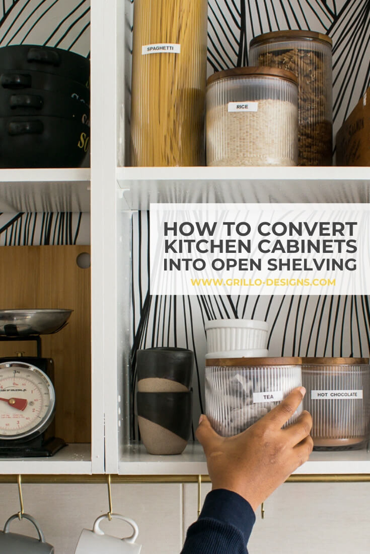 Rental Kitchen Update: How to Convert existing Cabinets into Open Shelving