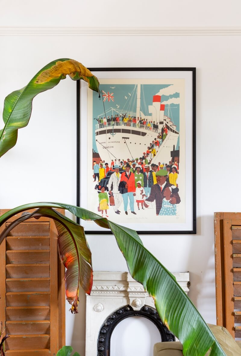 Image of ss windrush on the wall of Africas' living room