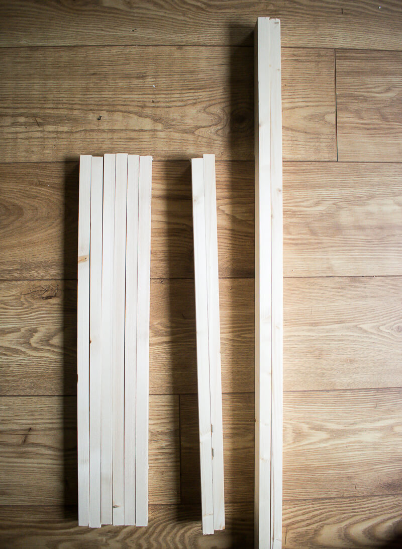 Image of wood pieces laid on the floor and cut to exact lengths
