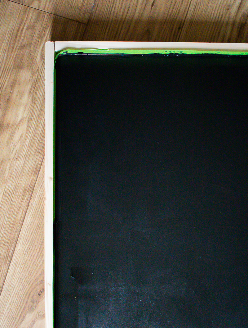 Image of one corner of the chalkboard menu painted with the blackboard paint