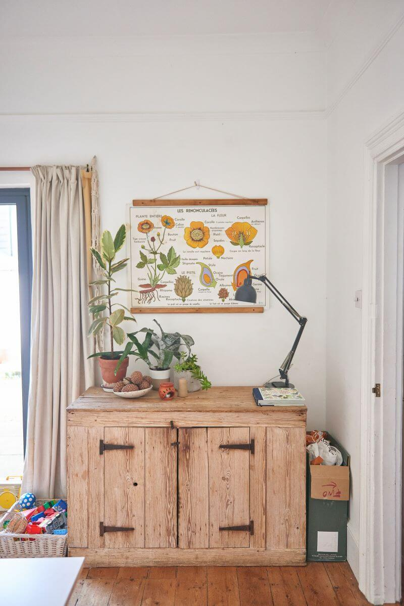 Rustic cabinet in the kitchen decorated with plants and lamp