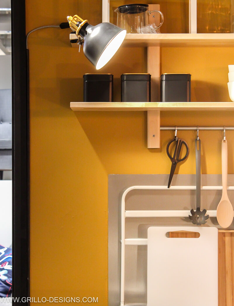 Close up of wall shelving in the kitchen area