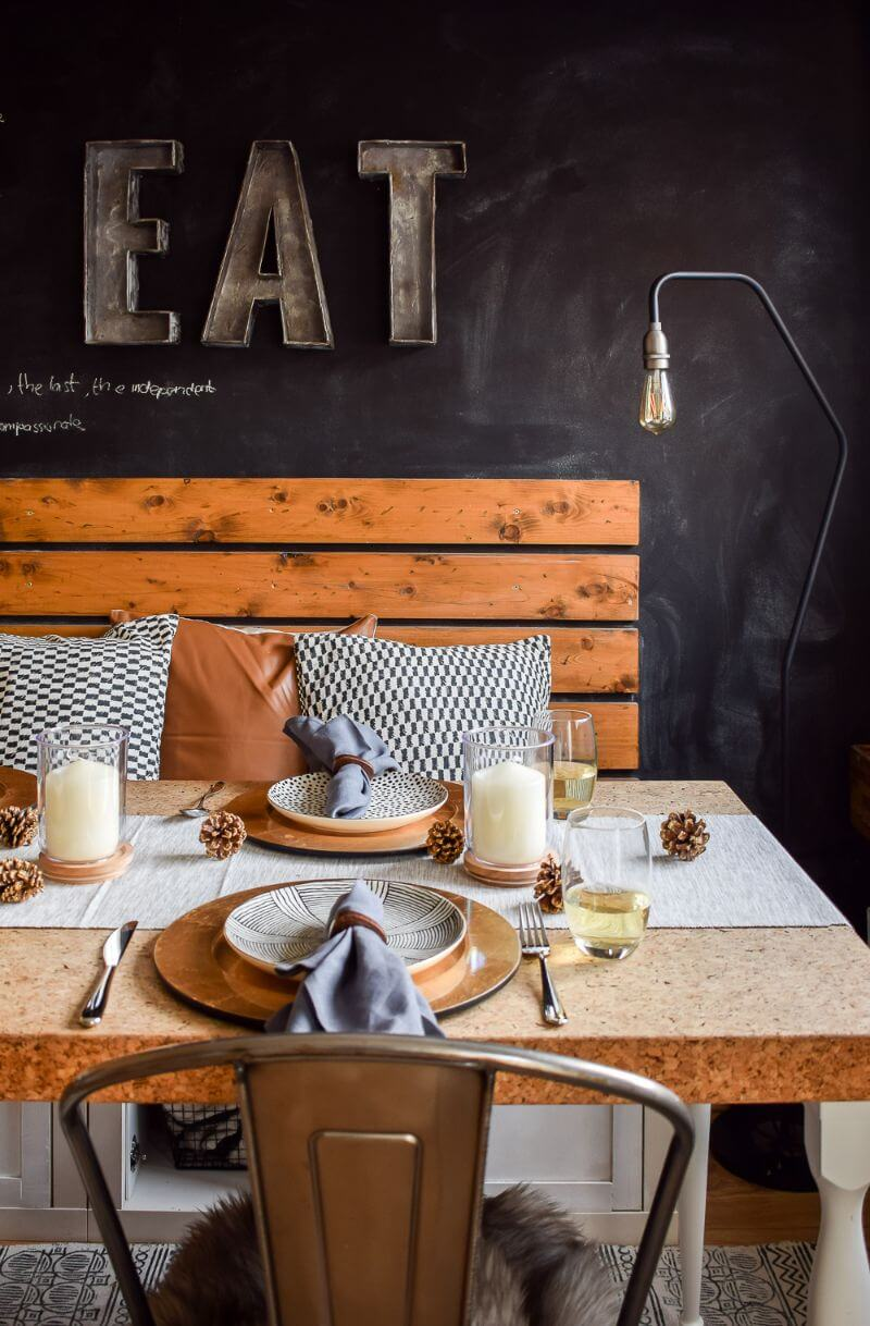 Modern styling table scape in an industrial dining room john lewis and partners . Table set against a chalkboard wall