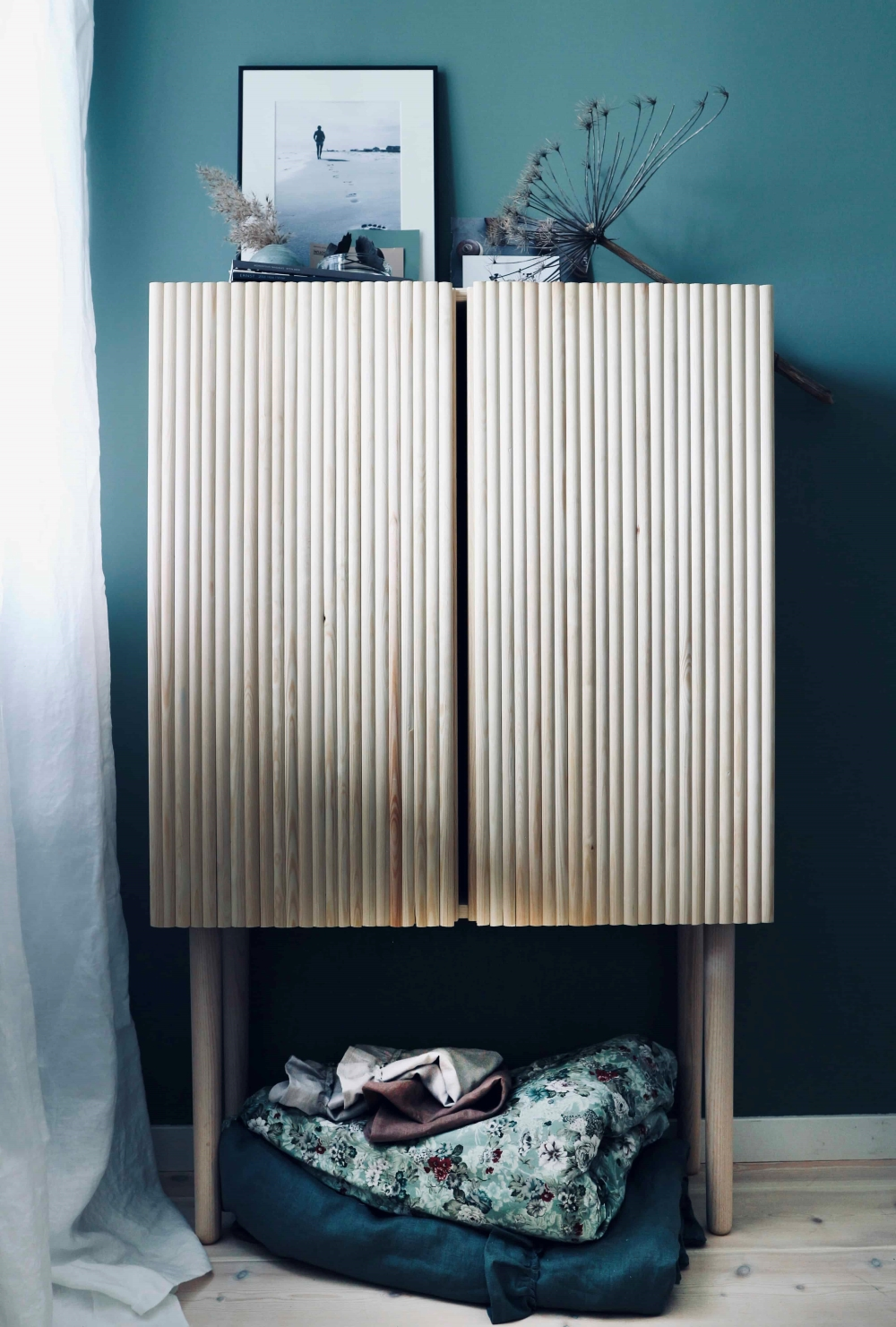 IKEA IAVR CABINET WITH FLUTED WOOD CUT FROM DOWELS