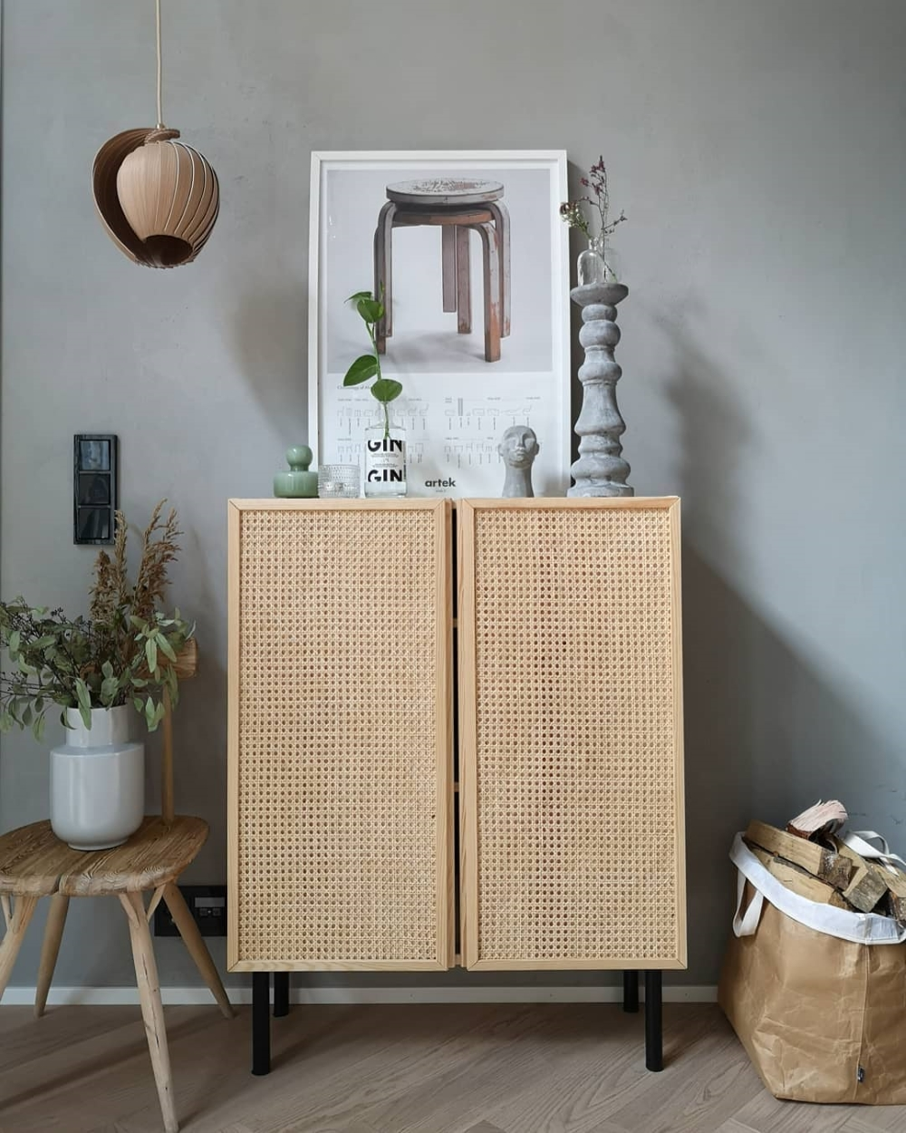 IKEA IVAR CABINET HACKED WITH CANE PANELS AND BLACK WOODEN LEGS