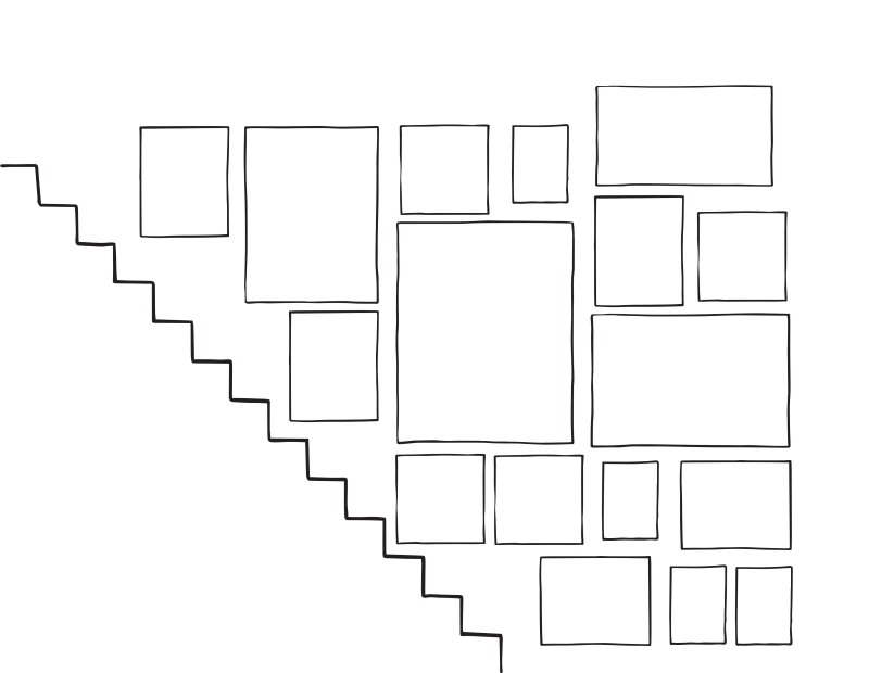Sketch of staircase gallery wall arrangement . 14 frames in total