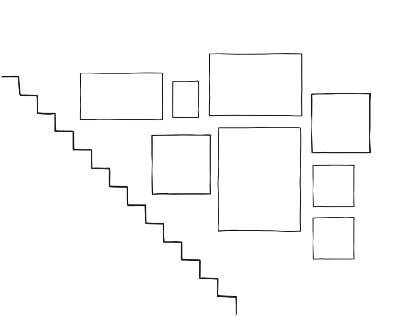 Sketch of staircase gallery wall arrangement . 8 frames in total