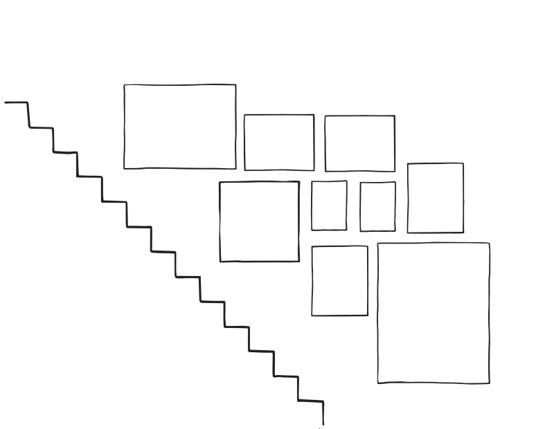 Sketch of staircase gallery wall arrangement . 9 frames in total