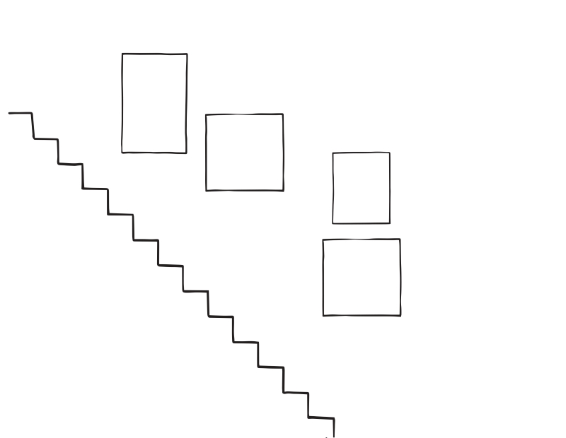 Sketch of staircase gallery wall arrangement . 4 frames in total