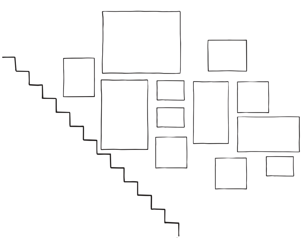 Sketch of staircase gallery wall arrangement . 12 frames in total