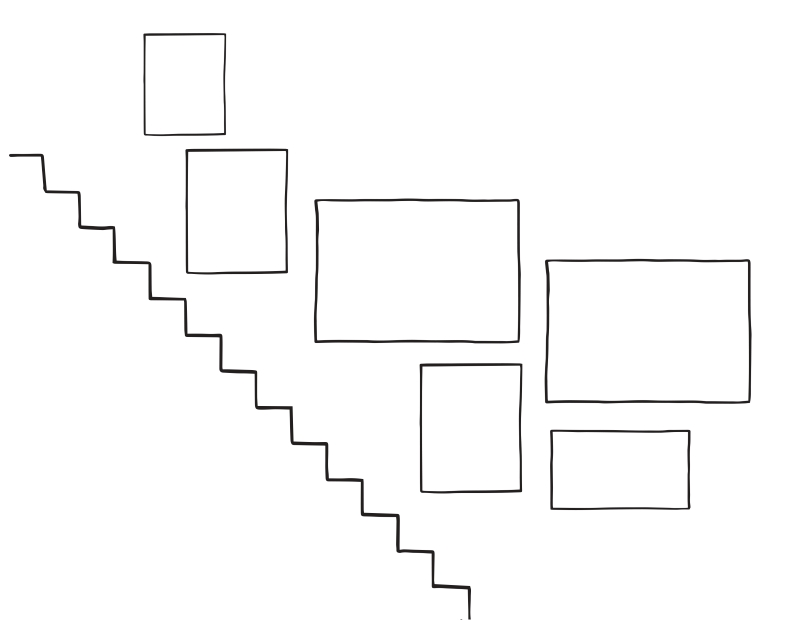 Sketch of staircase gallery wall arrangement . 6 frames in total