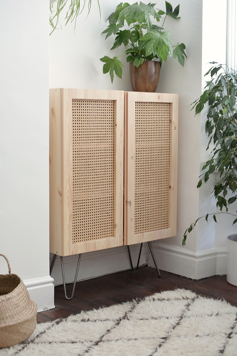 Rattan ikea ivar hack on metal legs