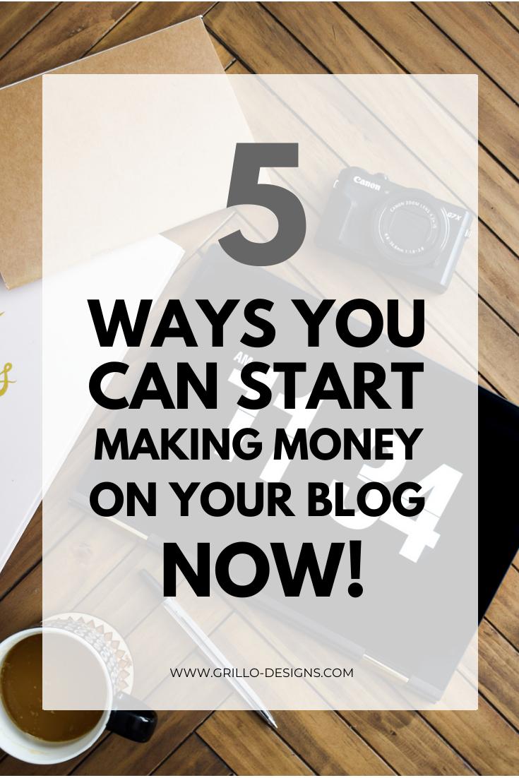 ways to make money blogging in 2020 pinterest graphic