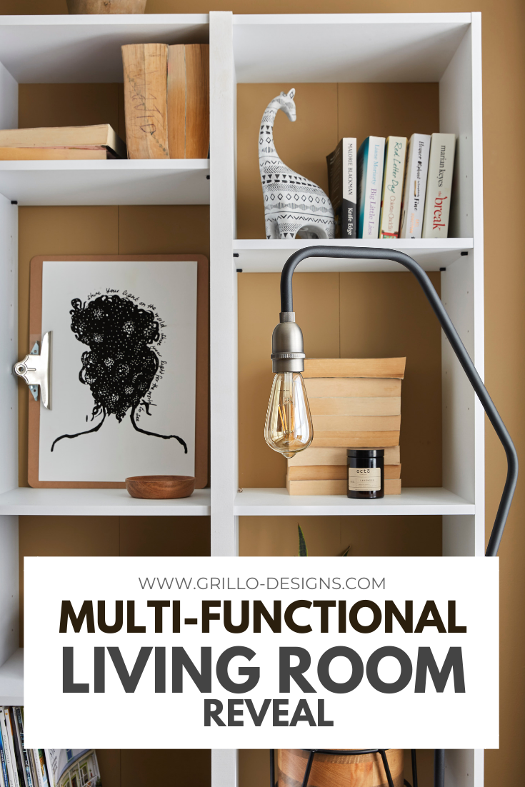 A multi-functional living room tour pinterest graphic