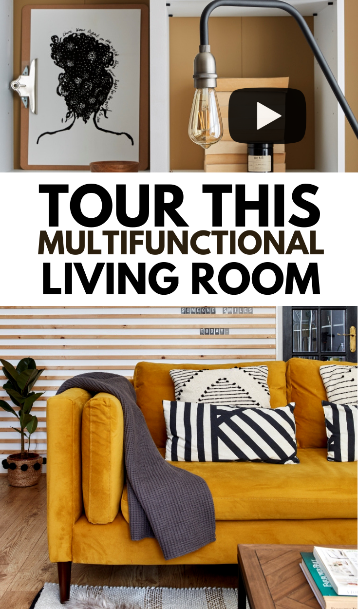 Video tour of a multi-functional living room pinterest graphic