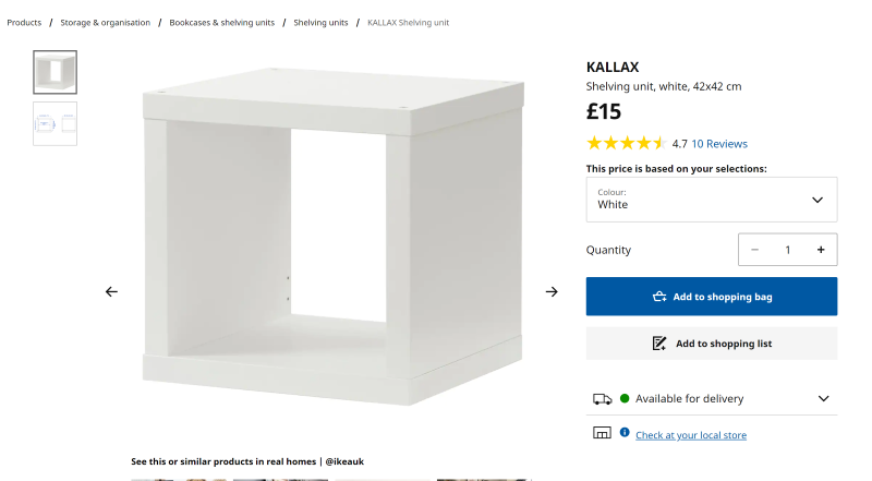 Screenshot of the IKEA KALLAX shelving unit