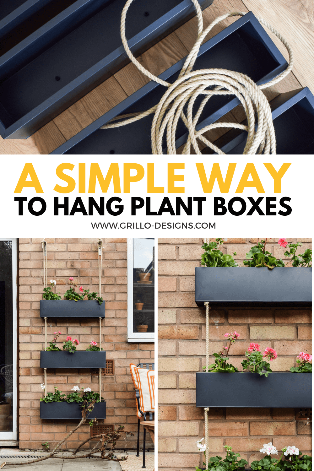 DIY OUTDOOR HANGING PLANTER PINTERST GRAPHIC