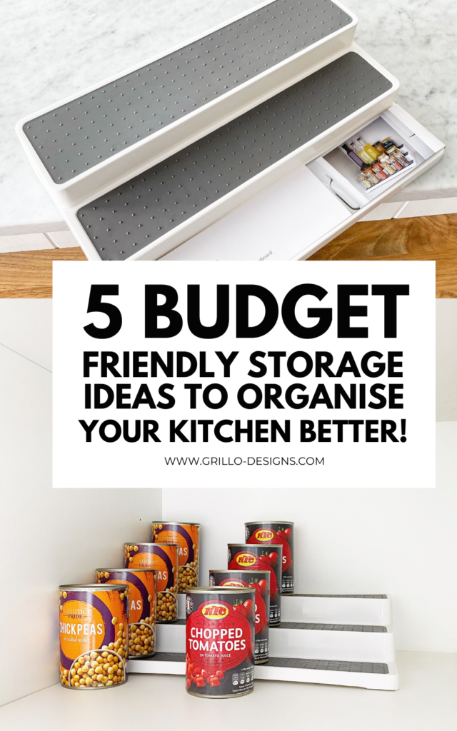 5 budget friendly storage ideas to organise your kitchen better pinterest graphic