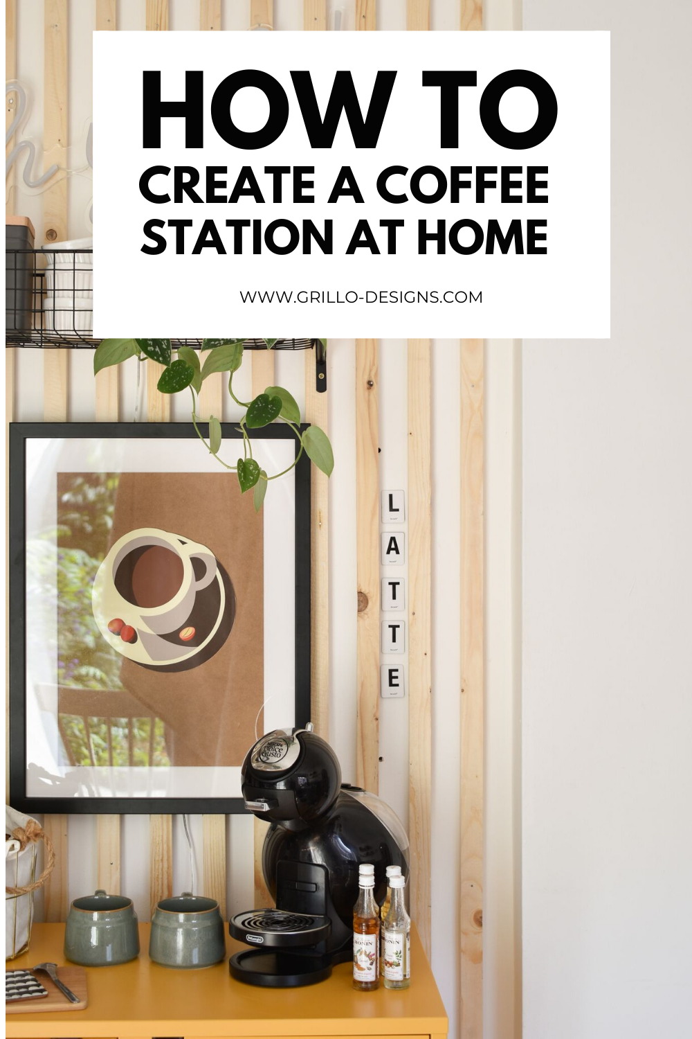 How to create a diy coffee station at home pinterest graphic
