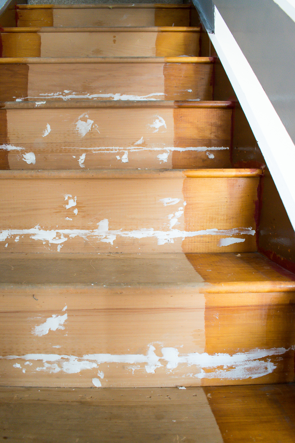 Wood filler in situ on the wooden stairs