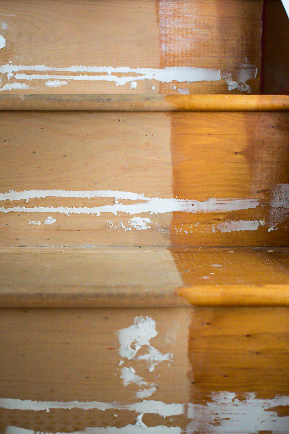 close up of wood filler on stairs