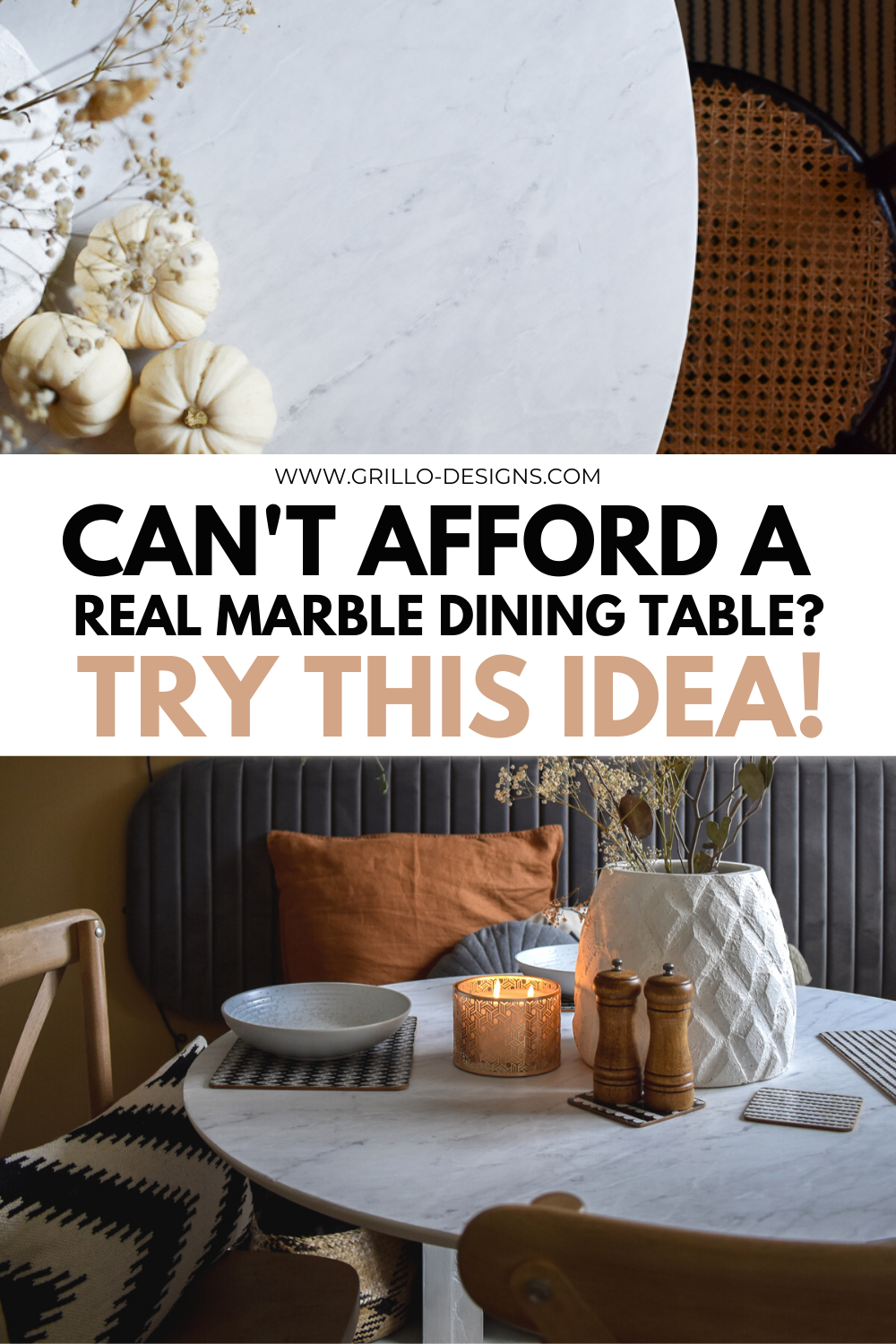 Diy marble pinterest graphic with text that say, cant afford a real marble table? Try this idea!