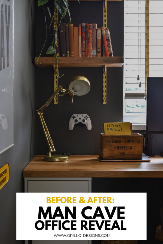 Before & after spare room to cool man cave office Pinterest graphic