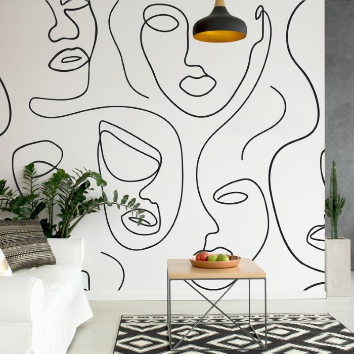 abstract face monochrome self-adhesive wallpaper with neutral living room sofa and accessories