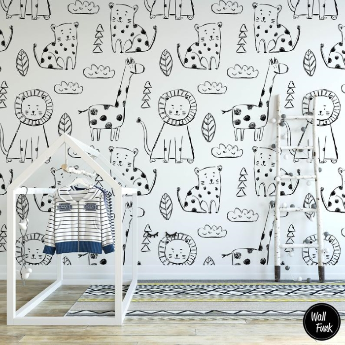 kids bedroom safari monochrome self-adhesive wallpaper with white children's furniture