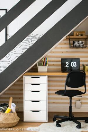 DIY Under Stairs Homework Station Pinterest graphic