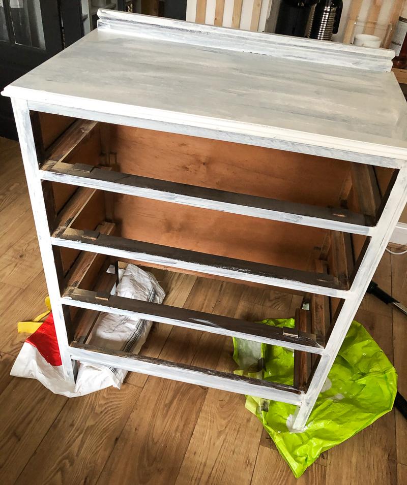 white painted dresser frame