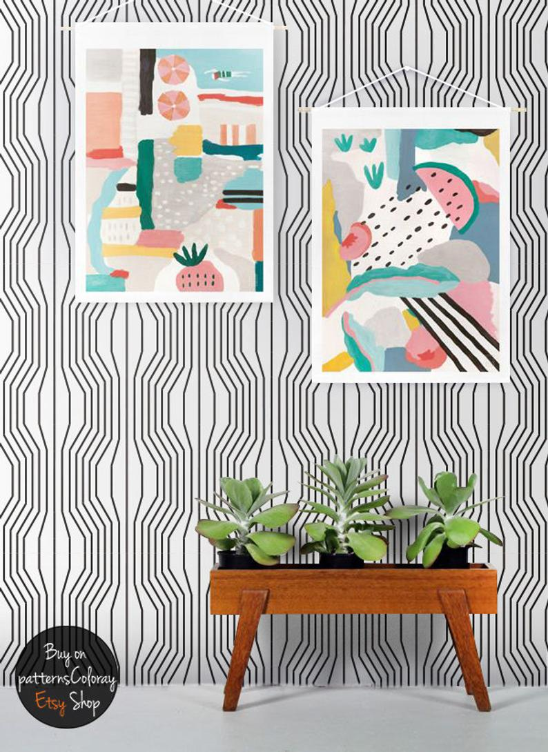 geometric illusion monochrome self-adhesive wallpaper with mid century modern furniture and colourful prints