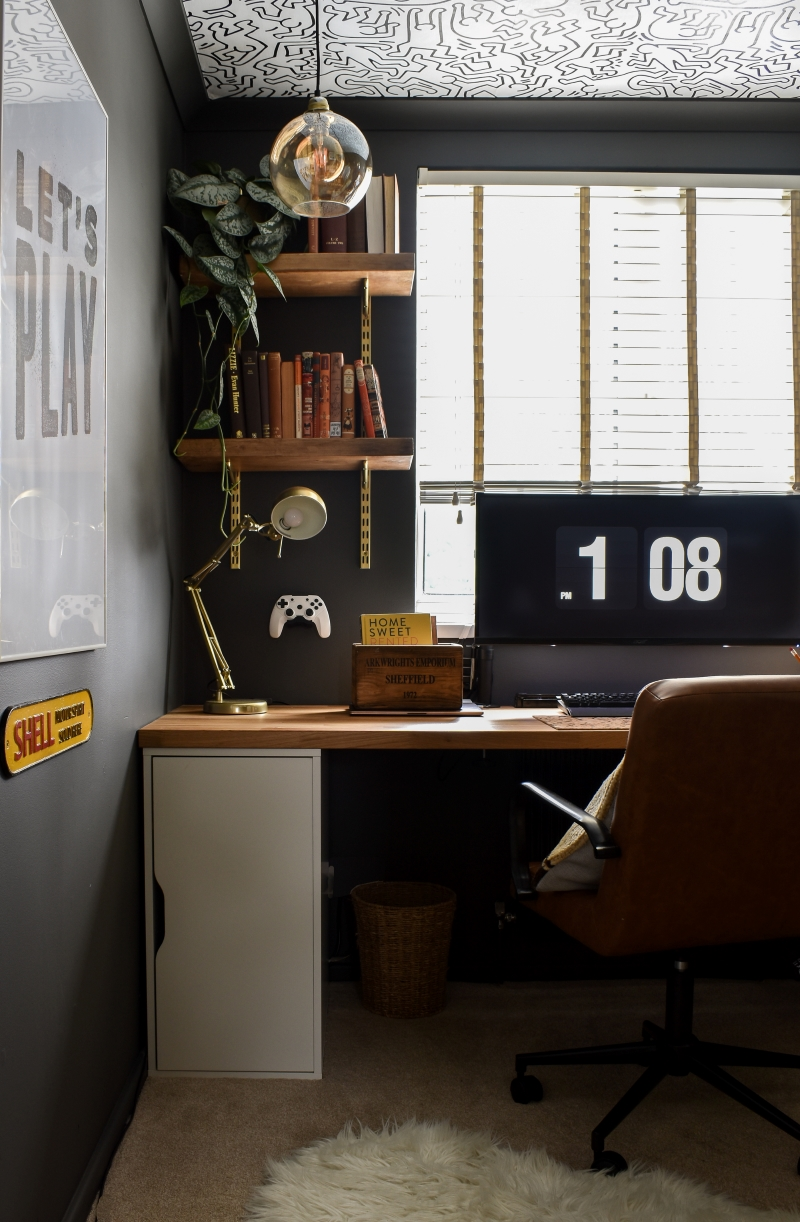 after cool man cave office with bespoke wooden desk monochrome self-adhesive wallpaper