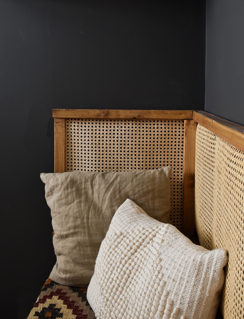 cool man cave office seating nook rattan back rest with neutral cushions