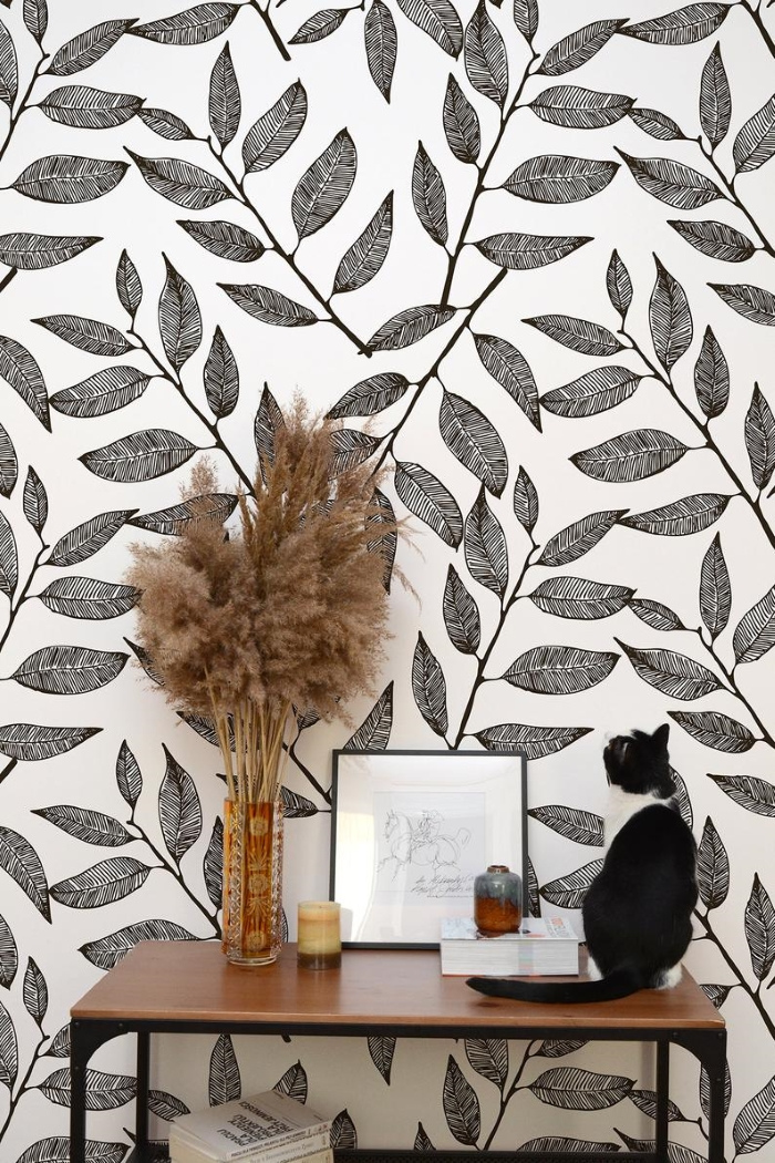 small space style leaf monochrome self-adhesive wallpaper with mid century modern furniture