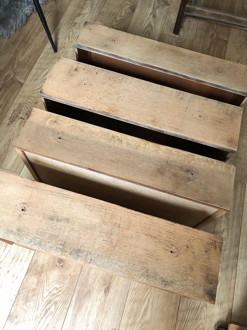after close up sanded vintage dresser draws