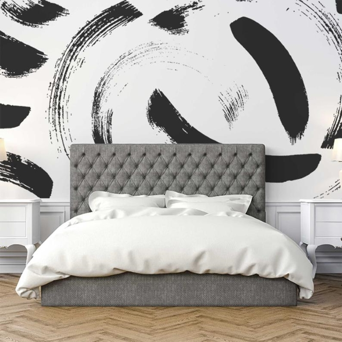 bedroom alpha monochrome self-adhesive wallpaper with plush grey bed and white furniture accessories