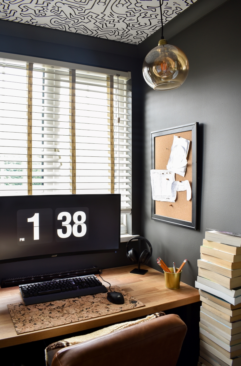 after cool man cave office with bespoke wooden desk monochrome self-adhesive wallpaper and pin board