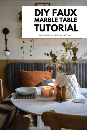 diy faux marble table tutorial pinterest graphic
