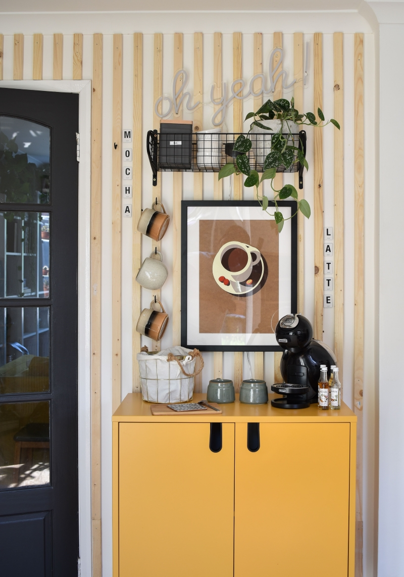 diy coffee station after shot with yellow cabinet and wooden wall panelling