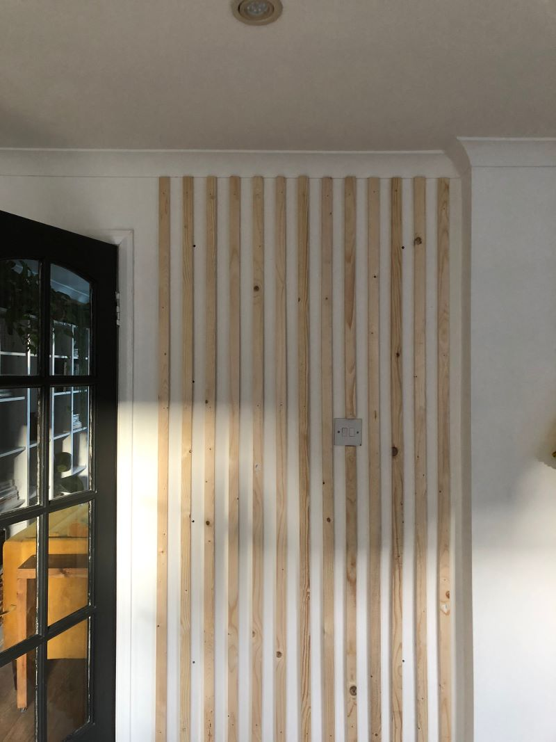 close up before shot diy coffee station natural wooden wall panelling
