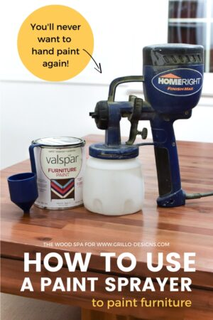 how to use a paint sprayer to paint furniture pinterest graphic