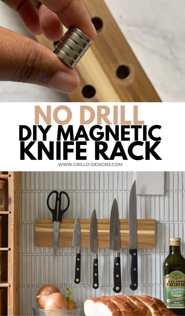 No drill diy magnetic knife rack pinterest image