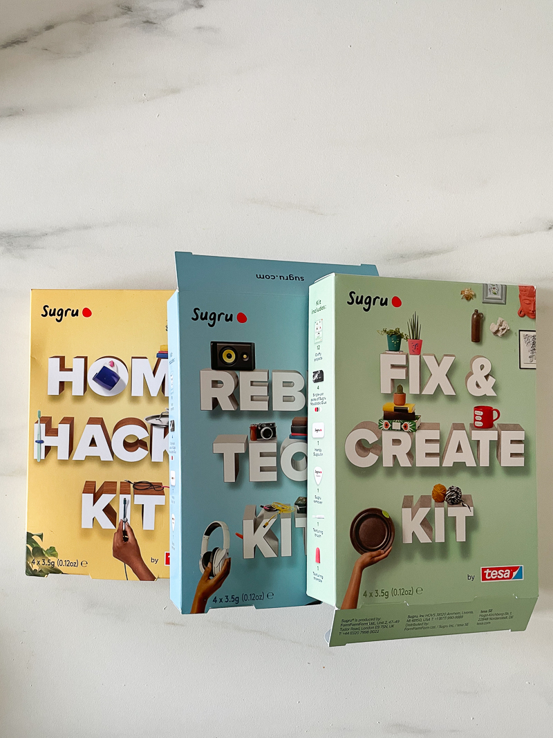 3 boxes of sugru new improved diy kits in yellow, green and blue